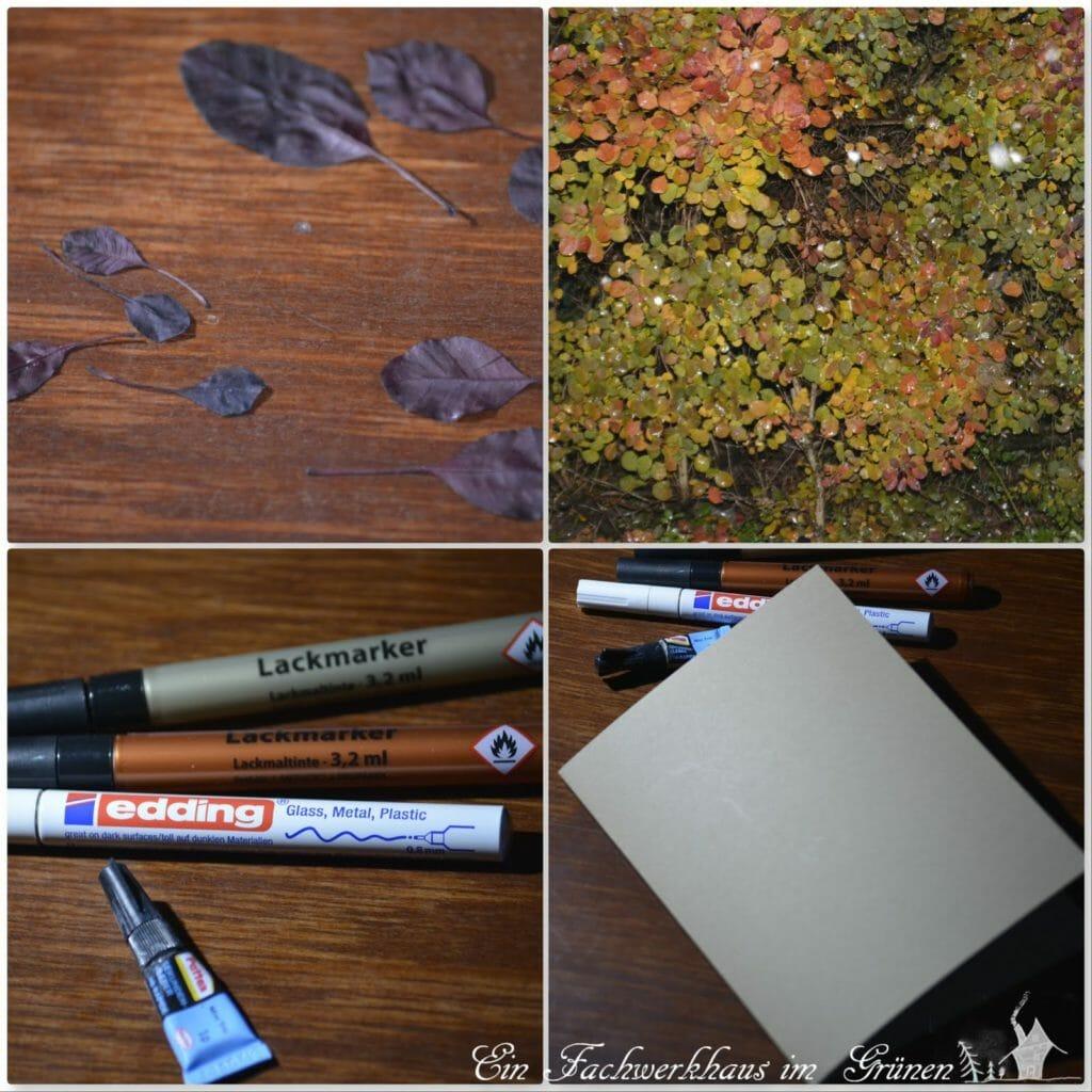 Mit Herbstblättern eine Karte basteln