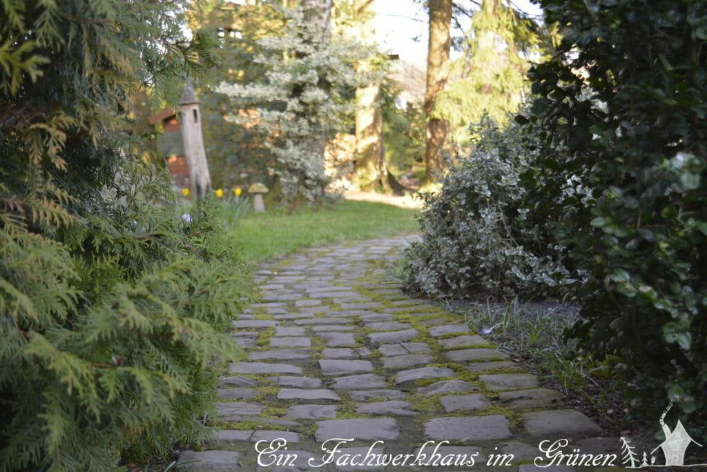 Ein Weg im Garten, dessen Ende nicht zu sehen ist.