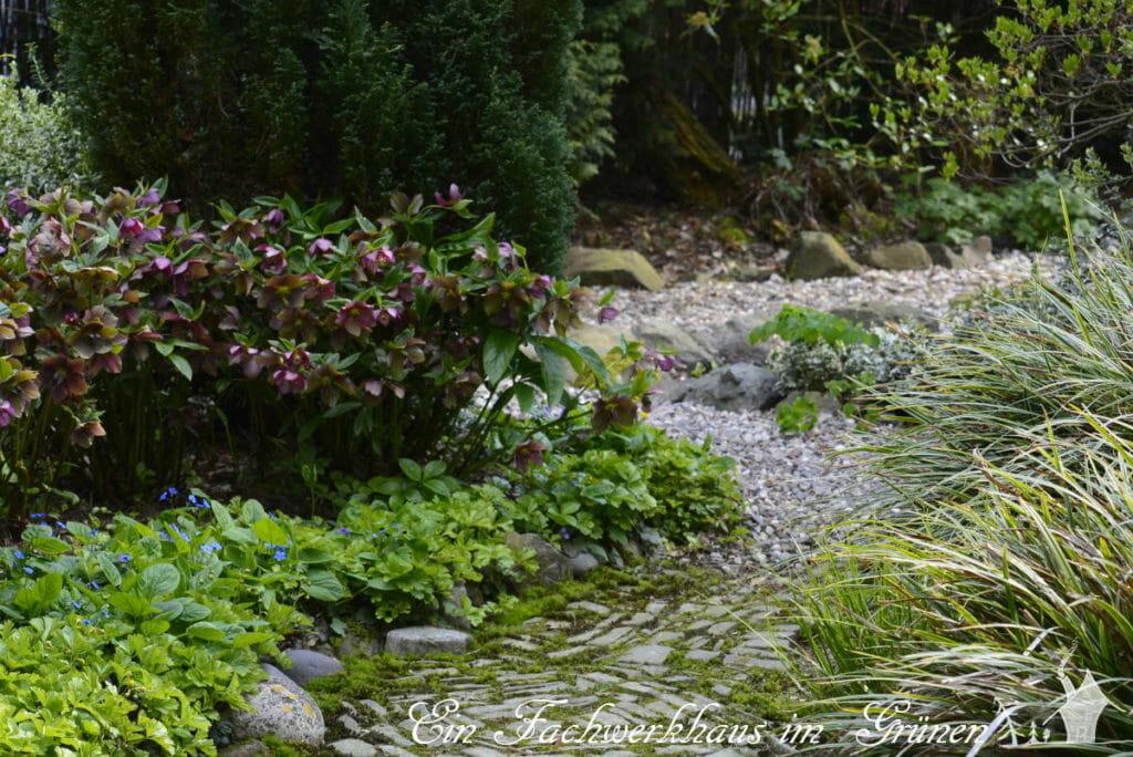 Wege durch den Garten im April