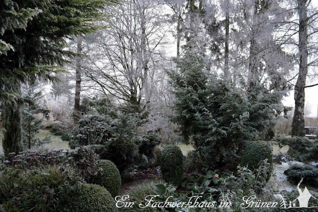 Der Garten ist auch im Winter wunderschön.