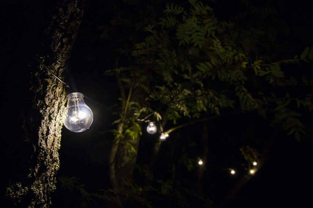 Stimmungsvolles LED Licht im Garten.